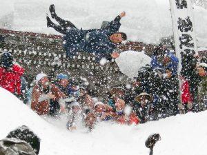Mukonage - traditional snow festival in YUKIGUNI, Japan