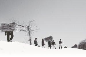 Preparation for a traditional snow festival in YUKIGUNI,Japan