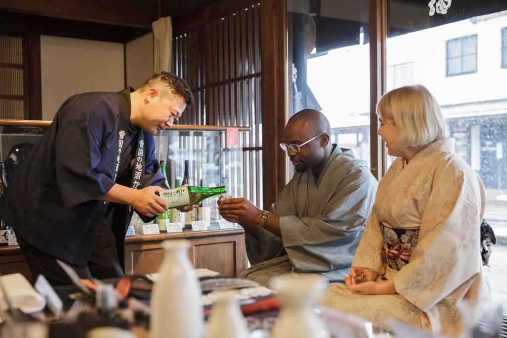 sake tasting in brewery