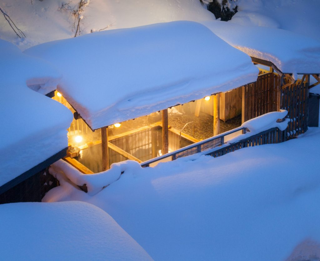 """Hot springs in the snow. Japanese Modern Luxury Ryokan """"Chitose"""""""
