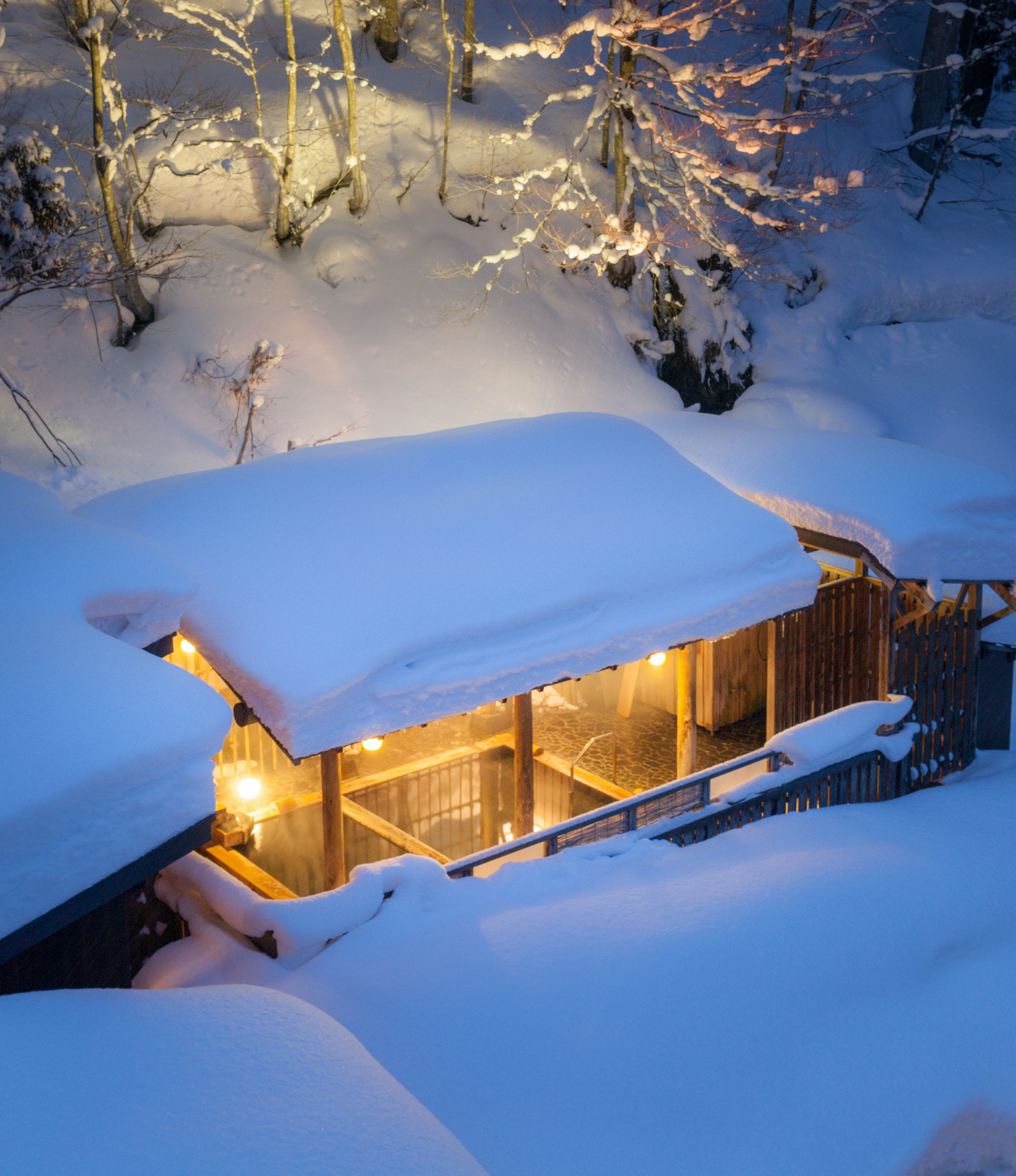"Hot springs in the snow. Japanese Modern Luxury Ryokan ""Chitose"""