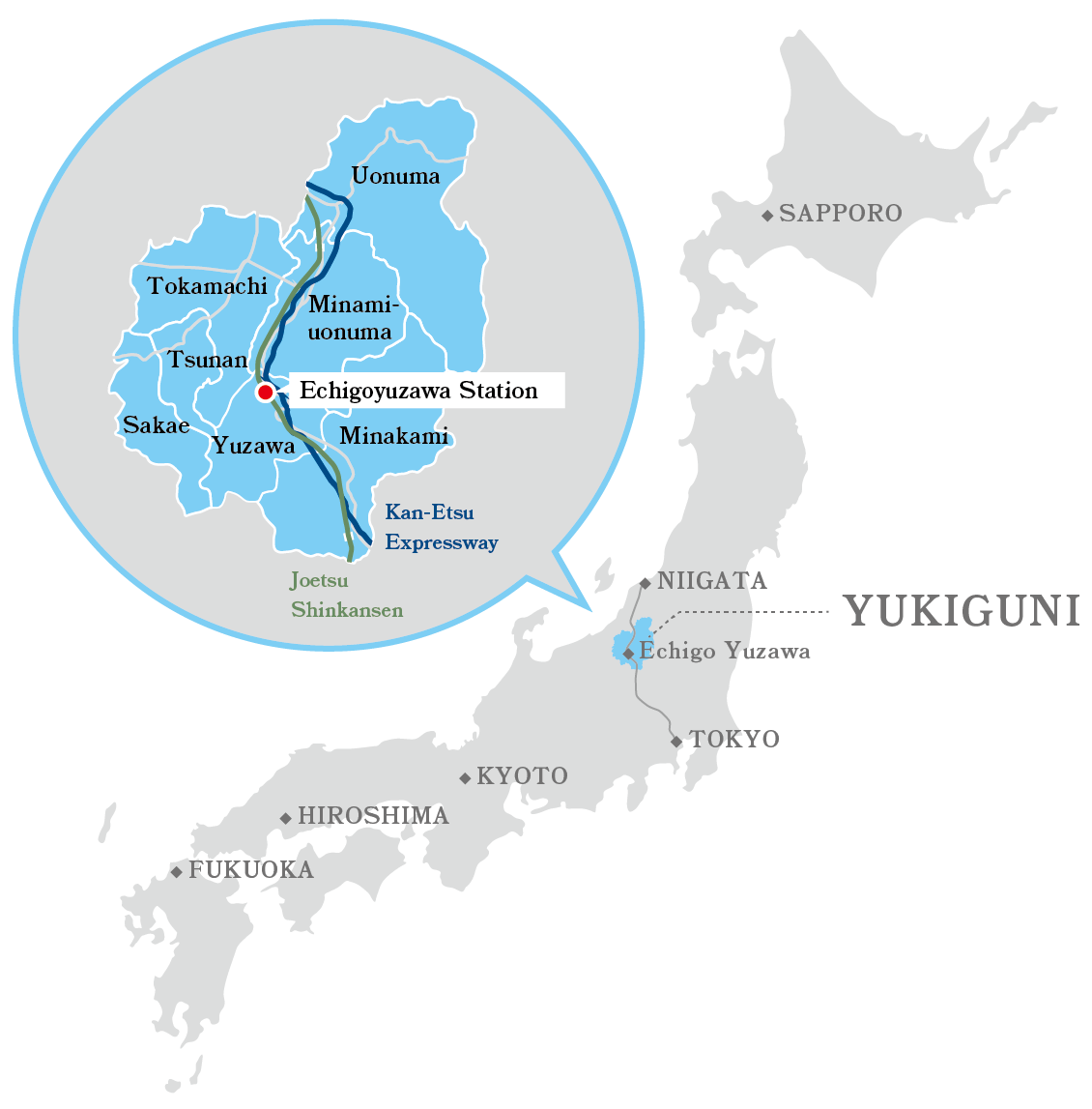 Access map from Tokyo to YUKIGUNI